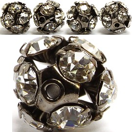 4pcs 10mm Rhinestone Ball w/ 2mm Hole Black Clear JP069