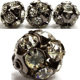 4pcs 12mm Rhinestone Globe W/2mm Hole Black Clear JP070
