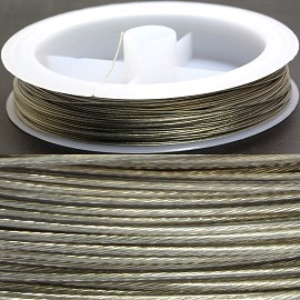 Clear Plastic Coated Metal String 0.5mm Thick Silver JP071