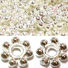 500pcs Approximately Round 7Ball Spacer 4x1mm Silver JP079