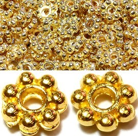500pcs Approximately Round 7Ball Spacer 4x1mm Gold JP080