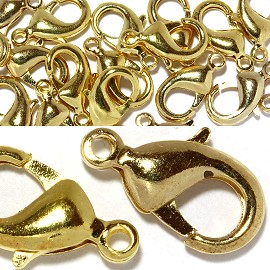 15pcs 15x9mm Lobster Claw Ends 1mm Hole Gold JP088