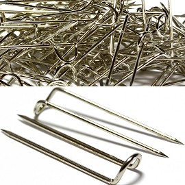 About 100pcs U Pins 24x6x4mm Silver JP1002