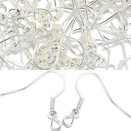 50pc Earring Hooks Jewelry Part Silver JP169