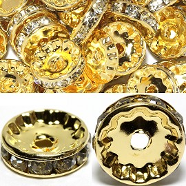 50pc 12mm Rondelles Rhinestone Spacer Gold Clear JP191G