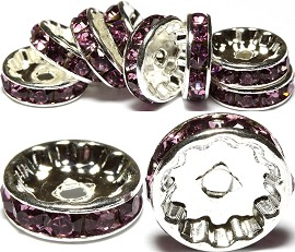 10pc 12mm Rondelles Rhinestone Spacer Purple JP197