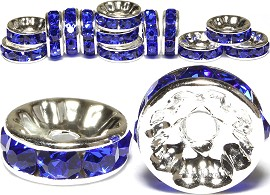 15pc 10mm Wheel Rhinestone Spacer Blue JP206