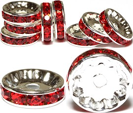 10pc 12mm Rondelles Rhinestone Spacer Red JP210