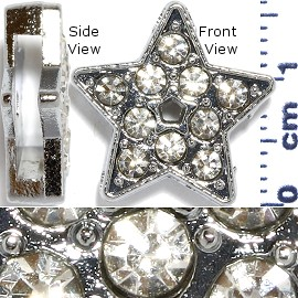 "Rhinestone Spacer 7/16"" Opening-Hole Star Silver JP221"