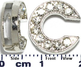 "Rhinestone Spacer 7/16"" Opening-Hole Letter - C - Silver JP223"