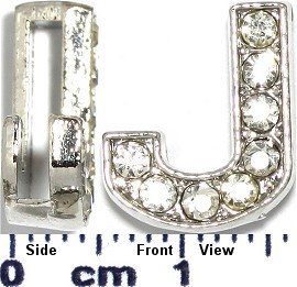 "Rhinestone Spacer 7/16"" Opening-Hole Letter - J - Silver JP229"