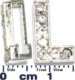 "Rhinestone Spacer 7/16"" Opening-Hole Letter - L - Silver JP231"