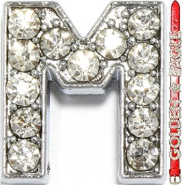 "Rhinestone Spacer 7/16"" Opening-Hole Letter - M - Silver JP232"