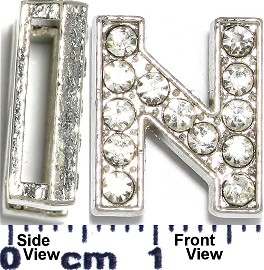 "Rhinestone Spacer 7/16"" Opening-Hole Letter - N - Silver JP233"
