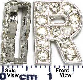"Rhinestone Spacer 7/16"" Opening-Hole Letter - R - Silver JP236"