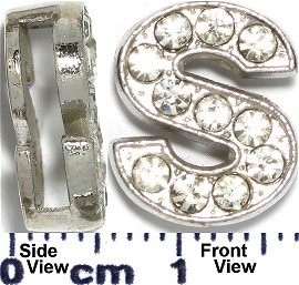 "Rhinestone Spacer 7/16"" Opening-Hole Letter - S - Silver JP237"