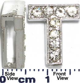 "Rhinestone Spacer 7/16"" Opening-Hole Letter - T - Silver JP238"