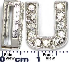 "Rhinestone Spacer 7/16"" Opening-Hole Letter - U - Silver JP239"