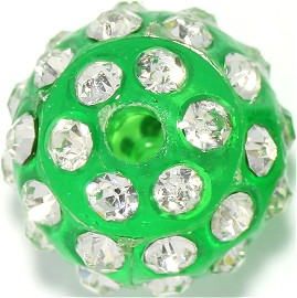 4pcs 12mm Rhinestone Bead 2mm Hole Green JP245