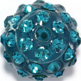 1pc 12mm Shamballa Rhinestone Bead 2mm Hole Teal JP248
