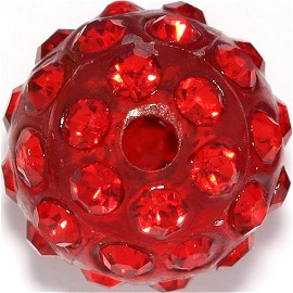 1pc 12mm Shamballa Rhinestone Bead 1mm Hole Red JP250