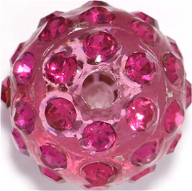 1pc 12mm Shamballa Rhinestone Bead 2mm Hole Pink JP251