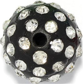 1pc 15mm Shamballa Rhinestone Bead 2mm Hole Black JP252