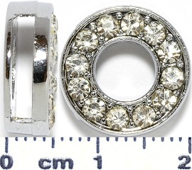 "Rhinestone Spacer 7/16"" Opening-Hole Letter - O - Silver JP300"