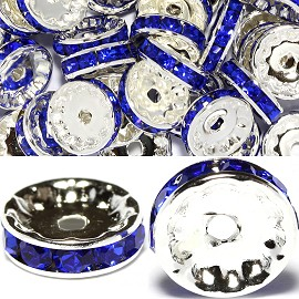 50pcs 12mm Rondelles Rhinestone Spacer Silver Blue JP328