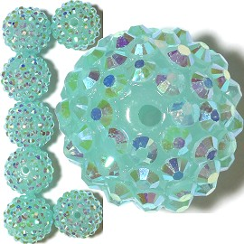8pc 18mm Shamballa Bead 1mm Hole Sky Blue Aura JP362