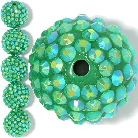6pc 20mm Shamballa Bead 1mm Hole Green Aura JP367