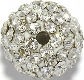 1pc 13mm Shamballa Disc Rhinestone Bead Clear w/2mm Hole JP374