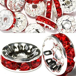 15pc 10mm Wheel Rhinestone Spacer Silver Red JP396
