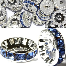 15pc 10mm Wheel Rhinestone Spacer Silver Light Blue JP402
