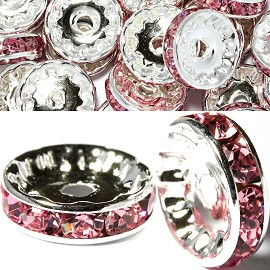 50pc 12mm Wheel Rhinestone Spacer Silver Pink JP404