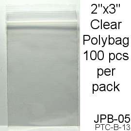 "Clear 2""x3"" Zip Polybag 100pcs JPB-05"
