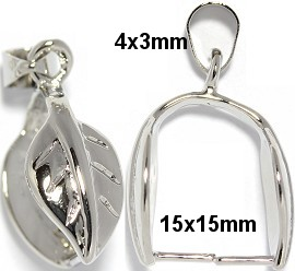 5pc Large Bail Leaf for Pendant Silver JP146