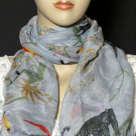"1pc 70x35"" Scarf Line Thin White Birds KZ141"