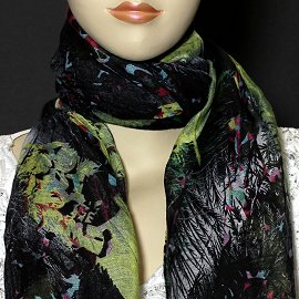 "1pc 70x35"" Scarf Line Thin Black Yellow Feather KZ148"