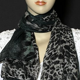 "1pc 70x35"" Scarf Line Thin Black Camouflage KZ155"
