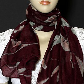 "1pc 70x35"" Scarf Line Thin Dark Red Dragonfly KZ160"