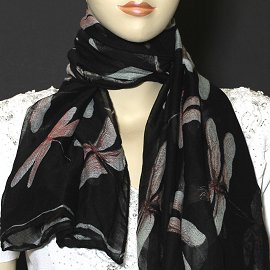 "1pc 70x35"" Scarf Line Thin Light Black Dragonfly KZ161"