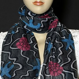 "1pc 70x35"" Scarf Line Thin Black Turquoise Sea Shells KZ168"
