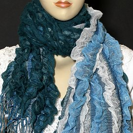"1pc 65x11"" Scarf Line Thick Teal Turquoise KZ183"