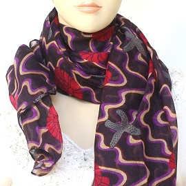 "1pc 70x35"" Scarf Line Thin Purple Red Sea Shells starfish KZ237"