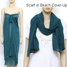 "1pc 68x37"" Scarf Sarong Beach Cover Dress Peacock Blue KZ253"