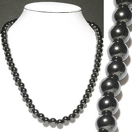 Magnetic Necklace 8mm Beads Black MNH20