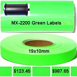 16 Rolls Pack Green Labels w/ Ink for MX-2200 MX22G