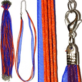 "50pc 18"" 1 Ribbon 4 String Cord Orange Blue NK494"