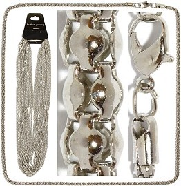 "12pc18"" Chain 3mm Thick Cord 5mm Thick End Silver NK499"